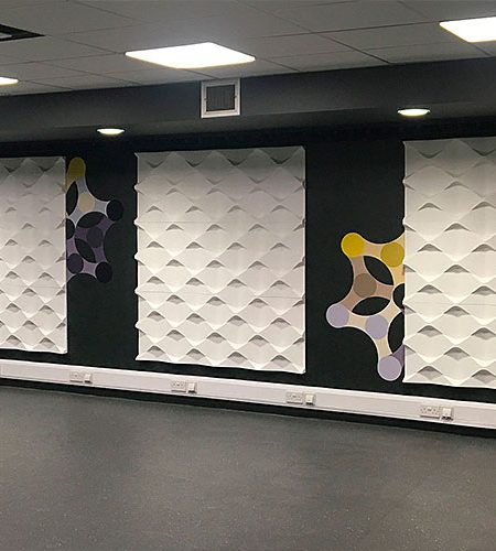 glasgow university, commercial wall design, geometric wall design, holes panels, modern surface design, university gym wall design