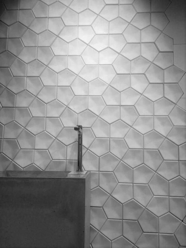 kili concrete 3d tiles, bathroom design, geometric concrete tiles