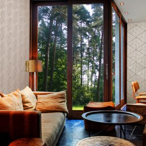 concrete geometric tiles, triangle 3d tiles, concete decor, forest view