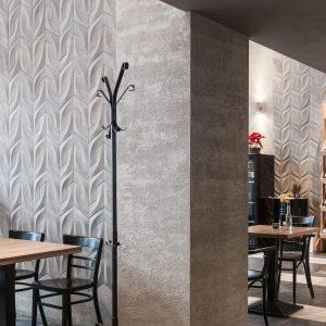 rivall concrete 3d tile, wine shelf, wine in restaurant, concrete wall tiles
