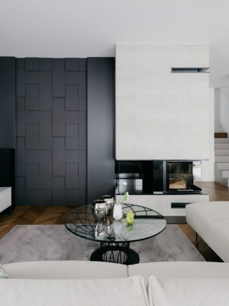 feature wall with rubik tiles