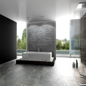 tzara concrete 3D tiles bathroom