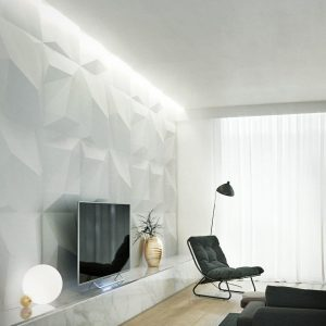quartz gypsum 3d tiles, tv wall, geometric wall, interior design