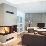Concrete panels on fireplace