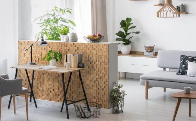 Kitchen island - wooden tiles