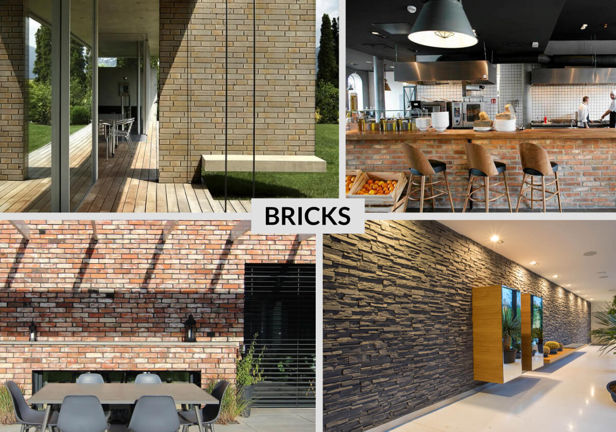 Brick tiles and American-style stone cladding create a fantastic look of natural clay brick walls, stone walls and rocks.