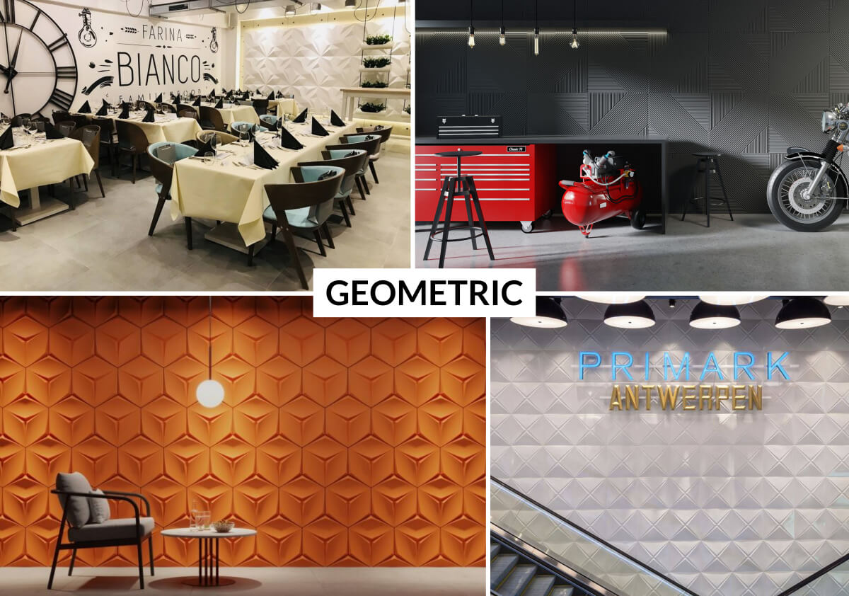 Geometric panels are designed to create symmetric 3D surfaces in an easy and quick way without joint filling.
